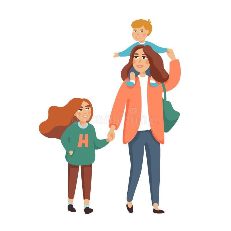 Jeune mère ou bonne d'enfants élégante, babysitter marchant avec 2 enfants Famille heureux Illustration de style de bande dessiné illustration libre de droits