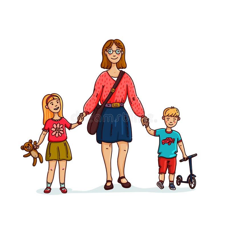 Jeune mère ou bonne d'enfants élégante, babysitter marchant avec 2 enfants Famille heureux Illustration plate de style de vecteur illustration stock