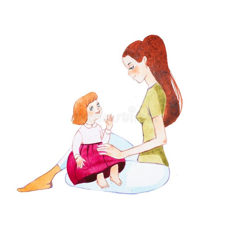 Jeune mère s'asseyant sur le plancher tenant sa fille d'enfant en bas âge sur les recouvrements illustration stock