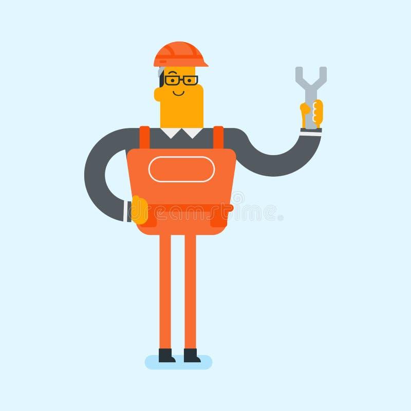 Jeune mécanicien blanc caucasien tenant une clé illustration de vecteur
