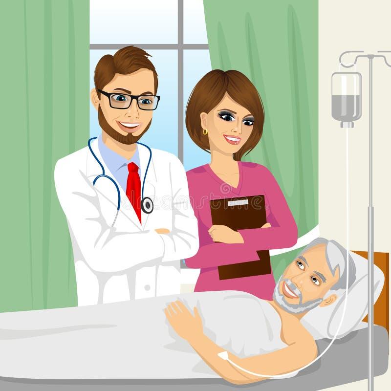 Jeune médecin et infirmière rendant visite à un patient supérieur de vieil homme illustration de vecteur