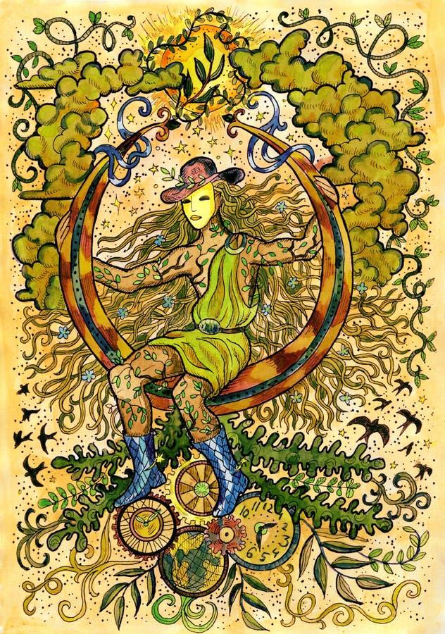 Jeune magicien de steampunk illustration de vecteur