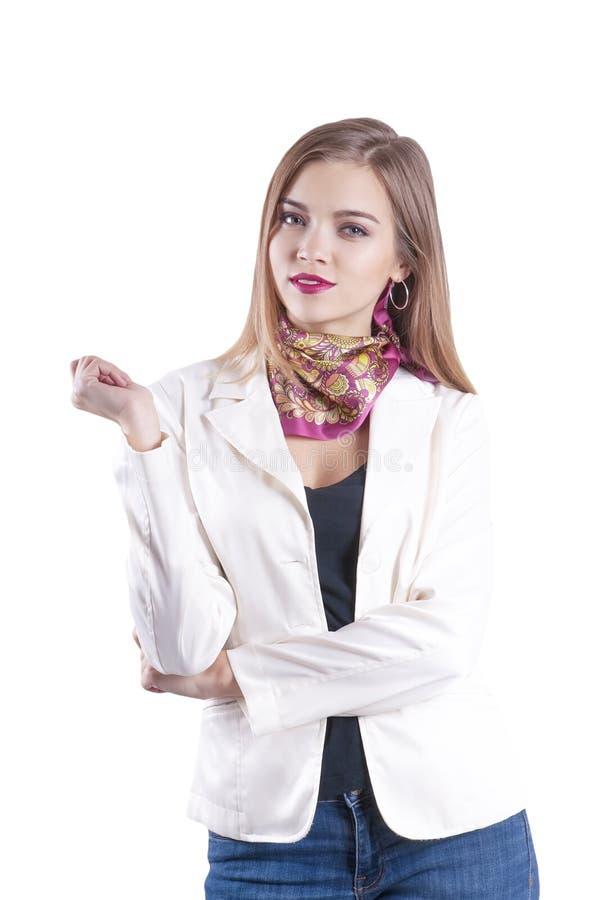 Jeune main de femme d'affaires près de réussi d'isolement par visage image stock