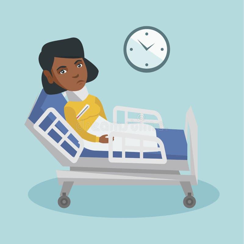 Jeune malade africaine de femme avec la fièvre s'étendant dans le lit illustration libre de droits