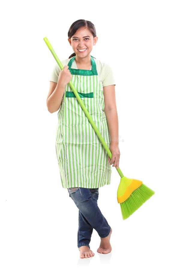 Jeune maman houseworking, portrait de studio photos libres de droits