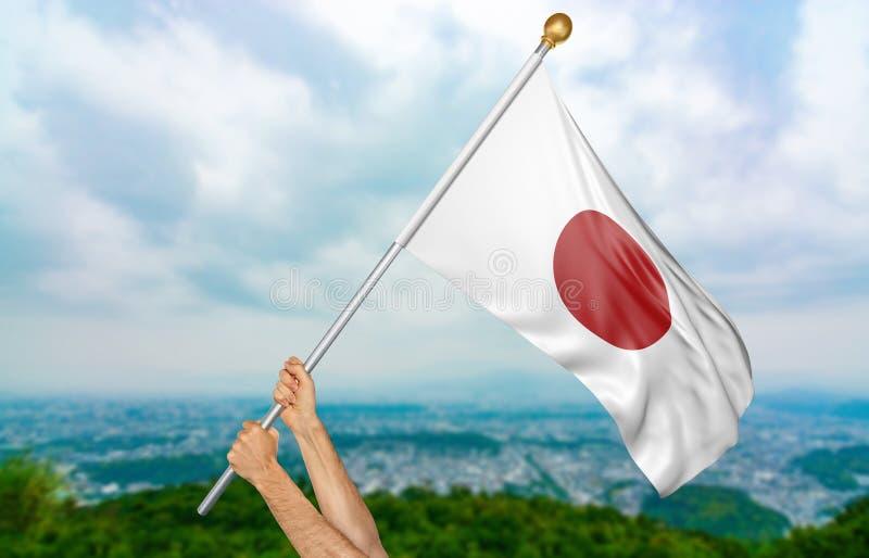 Jeune man& x27 ; s remet onduler fièrement le Japon drapeau national dans le ciel, rendu de la partie 3D photo libre de droits