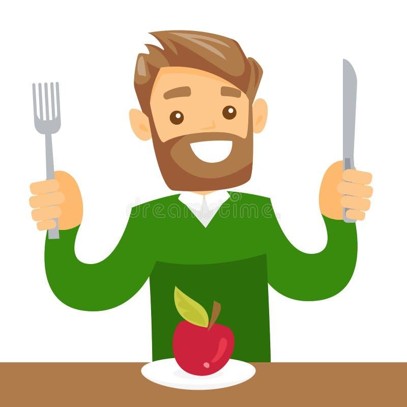 Jeune mangeur d'hommes blanc caucasien une pomme illustration stock