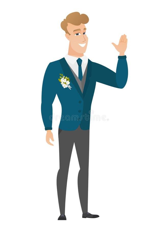 Jeune marié caucasien ondulant sa main illustration libre de droits