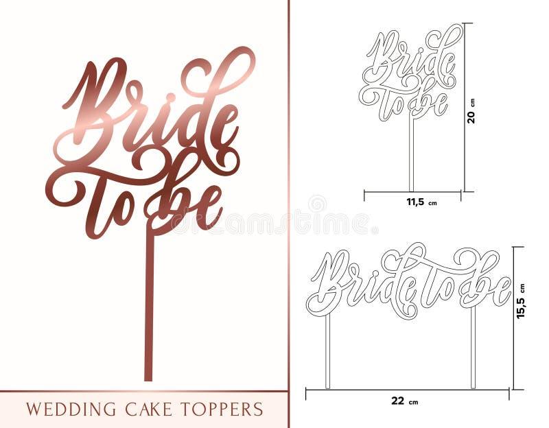 Jeune mariée à être hauts de forme de gâteau pour le laser ou fraiser coupé Mariage Rose illustration de vecteur