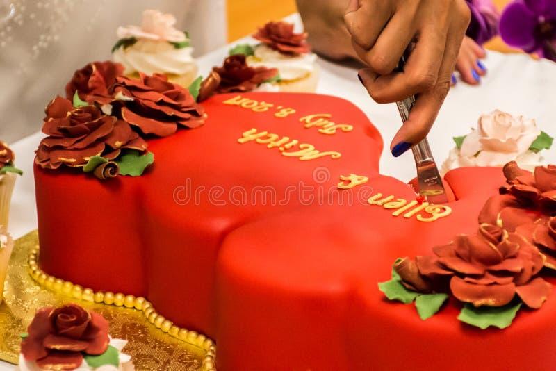 Jeune mariée coupant le gâteau de mariage rouge de velours image libre de droits
