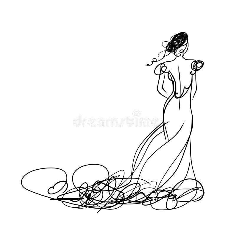 Jeune mariée dans la robe blanche, croquis pour votre conception illustration stock