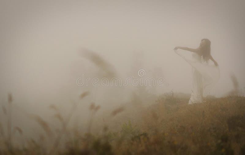 Jeune mariée dans la robe blanche en brouillard sur l'île de Miguel de sao, Açores photographie stock libre de droits