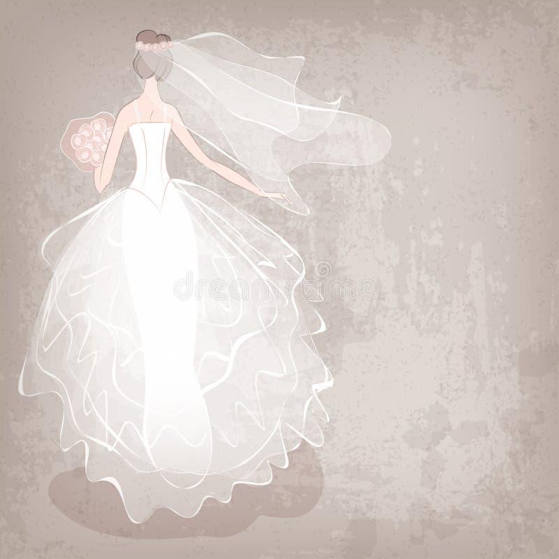 Jeune mariée dans la robe de mariage sur le fond sale illustration libre de droits