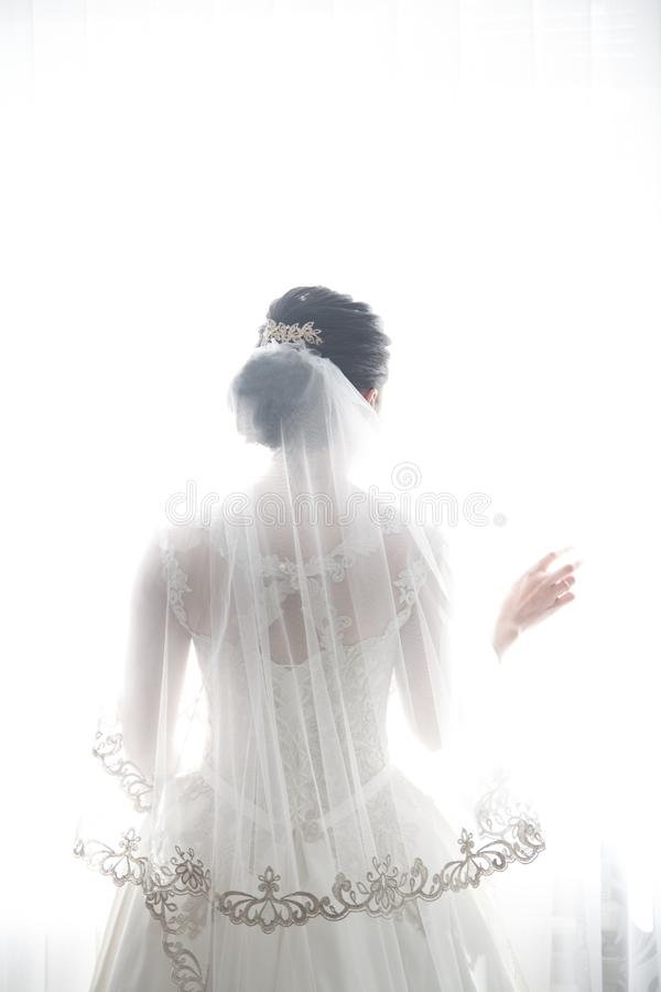Jeune mariée dans une belle robe blanche l'épousant, thème de mariage, symbolique des histoires d'amour photo stock