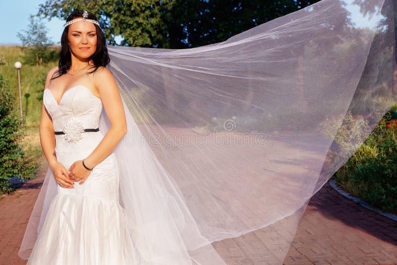 Jeune mariée dans une belle robe et un long voile images stock