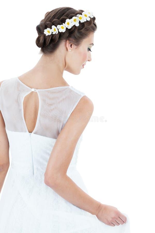 Jeune mariée dans une robe blanche photos libres de droits