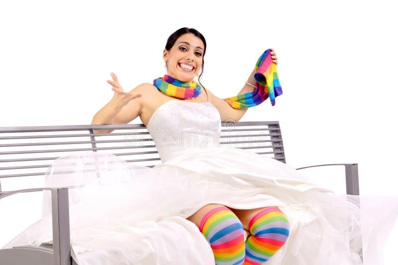 Jeune mariée drôle photo libre de droits