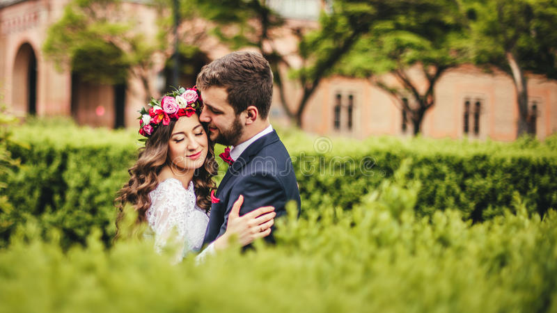 Jeune mariée et marié en parc image stock