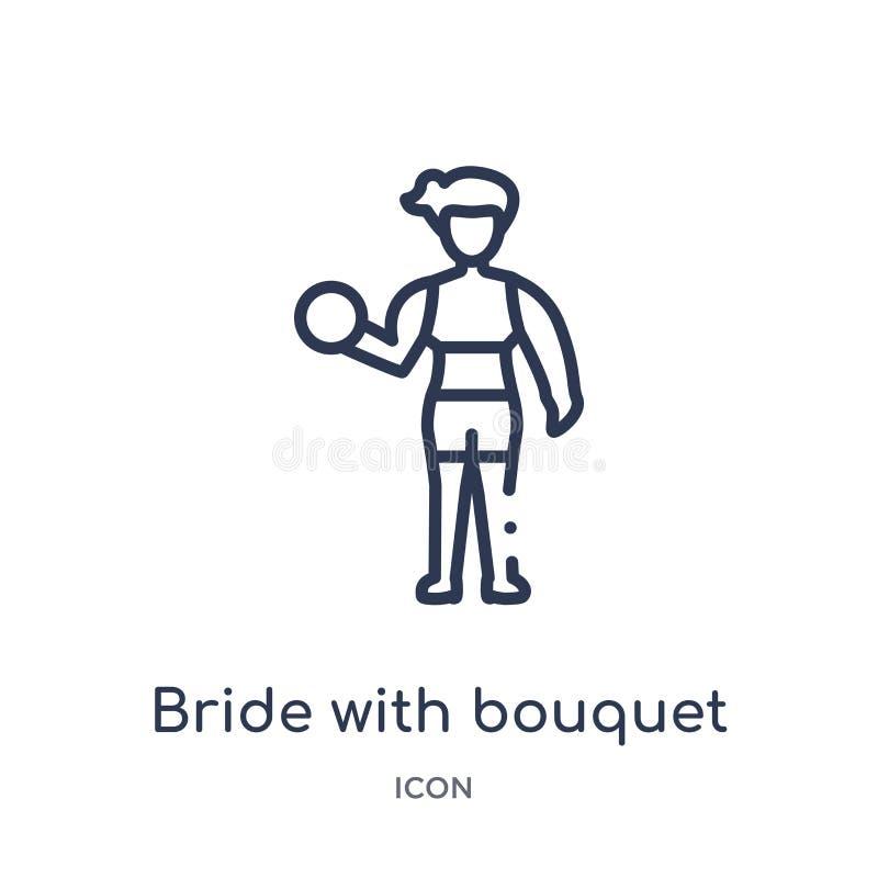 Jeune mariée linéaire avec l'icône de bouquet de la collection d'ensemble de dames Ligne mince jeune mariée avec l'icône de bouqu illustration libre de droits