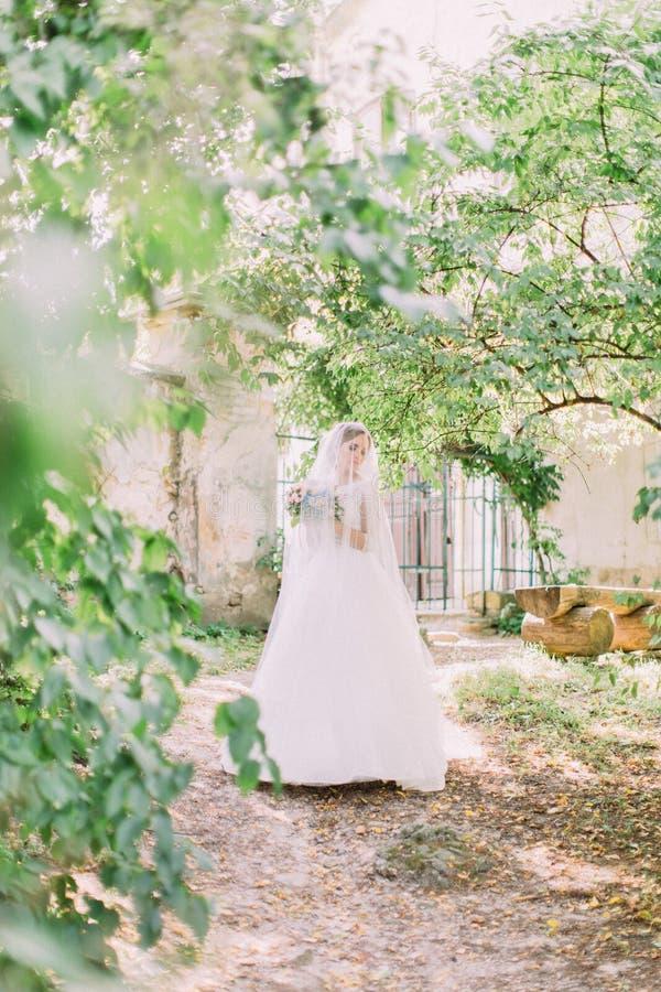 Jeune mariée merveilleuse avec le bouquet de mariage sous le voile marchant en parc photo stock
