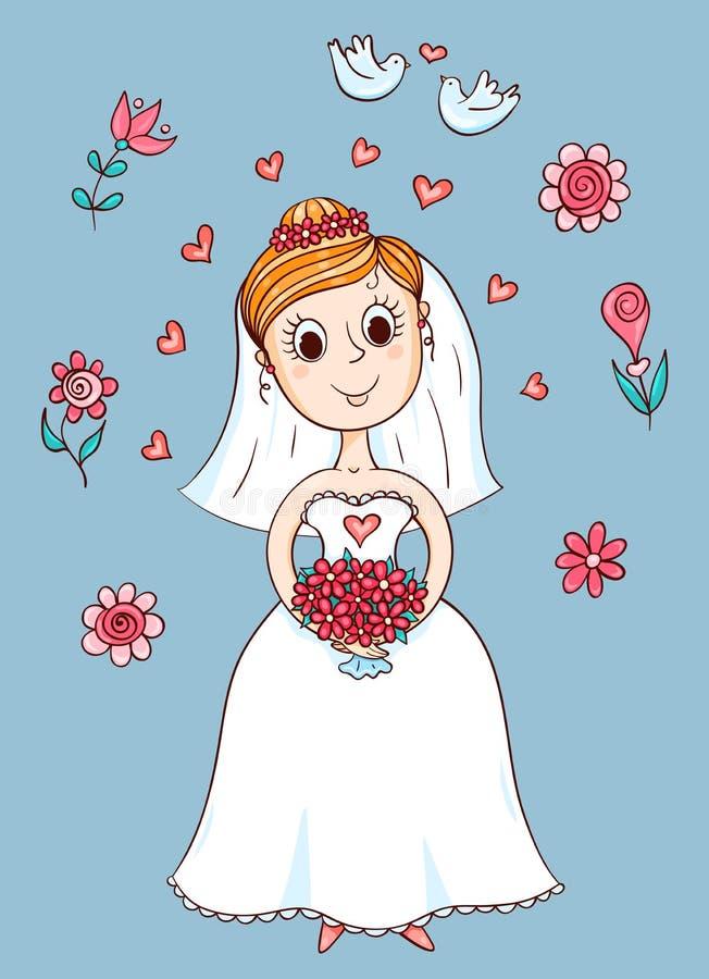 Jeune mariée mignonne heureuse illustration libre de droits