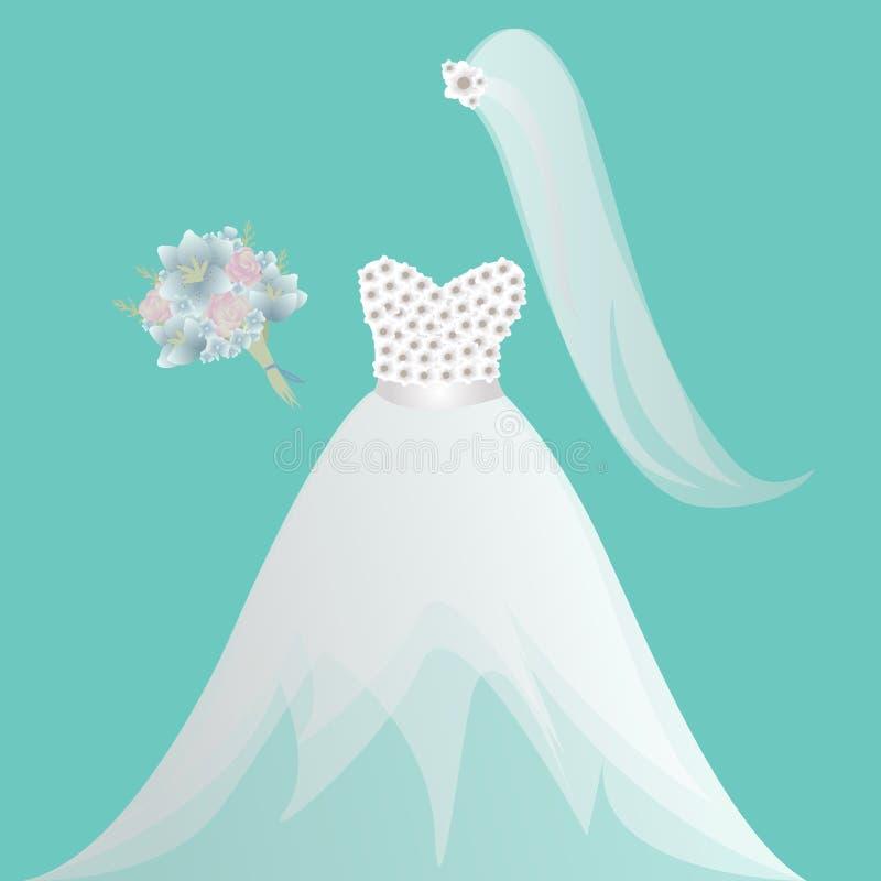 Jeune mariée, robe de mariée, douche nuptiale, invitation, obtenant robe mariée et blanche, robe de mariage, voile illustration libre de droits