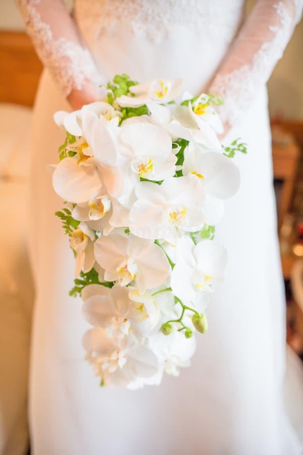 Jeune mariée tenant le bouquet blanc d'orchidées photos libres de droits