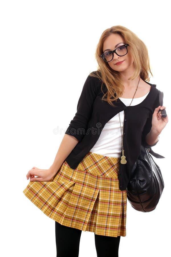 Jeune modèle blond avec des glaces et sac posant 3 images stock
