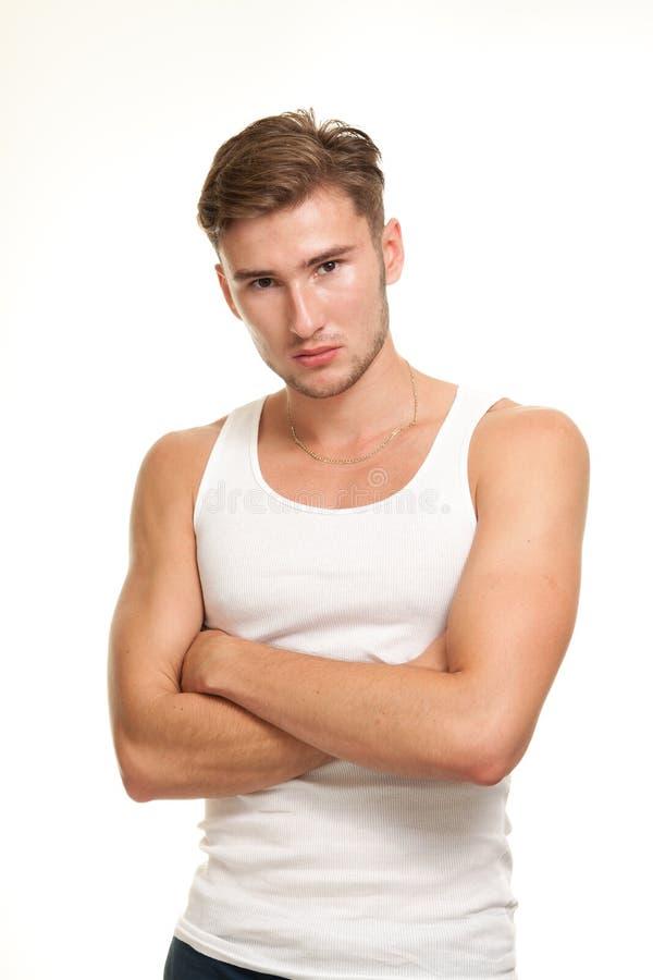 Jeune modèle mâle confiant image stock