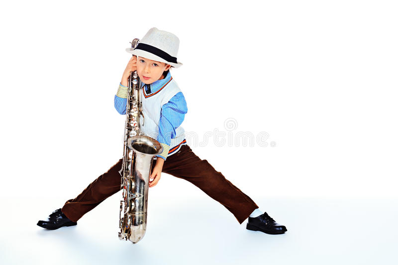 Jeune musicien de jazz photo stock
