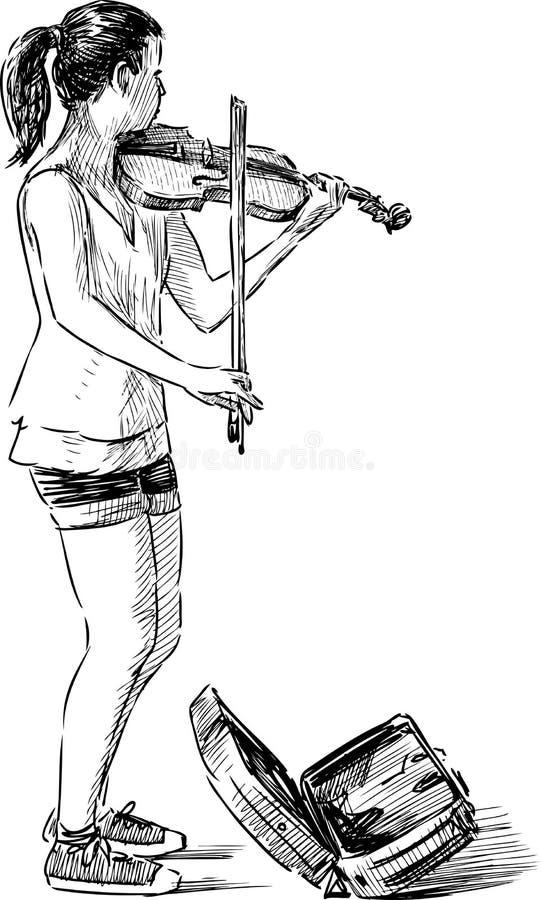 Jeune musicien de rue illustration stock