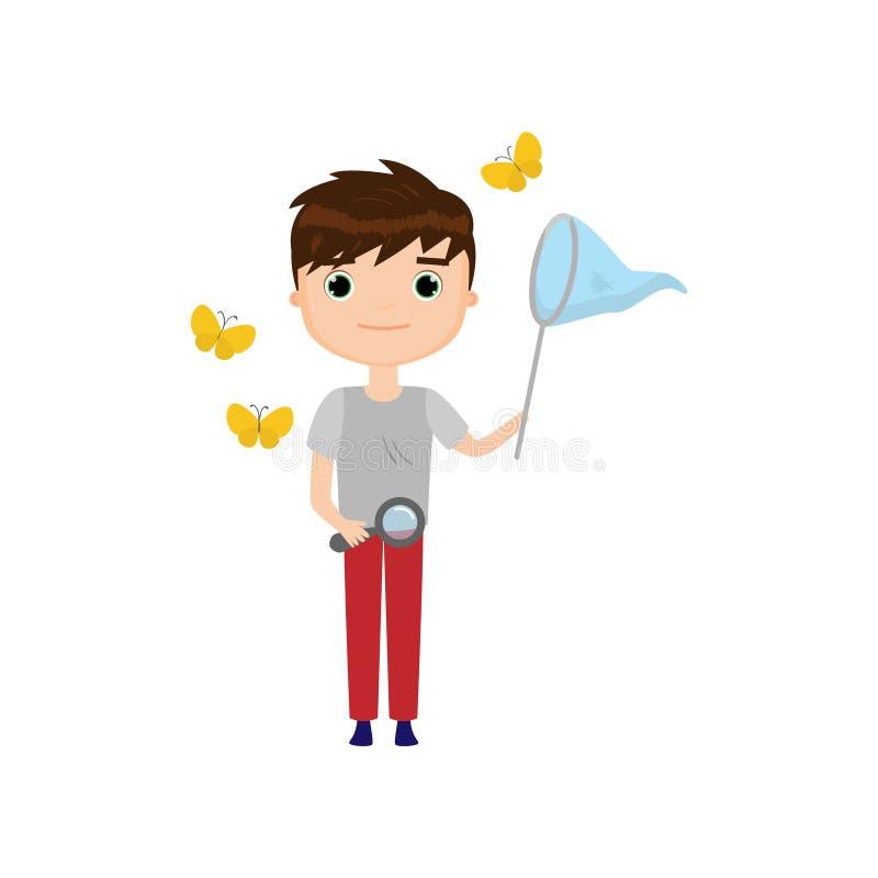 Jeune naturaliste avec le filet de papillon et loupe d'isolement sur le fond blanc illustration libre de droits