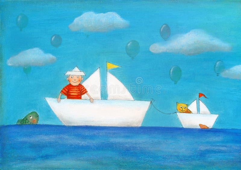 Jeune navigation de garçon, le dessin de l'enfant, peinture à l'huile illustration de vecteur