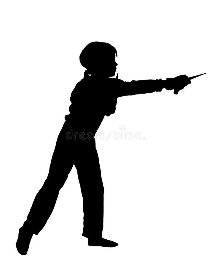 Jeune ninja d'image avec le kunai illustration stock