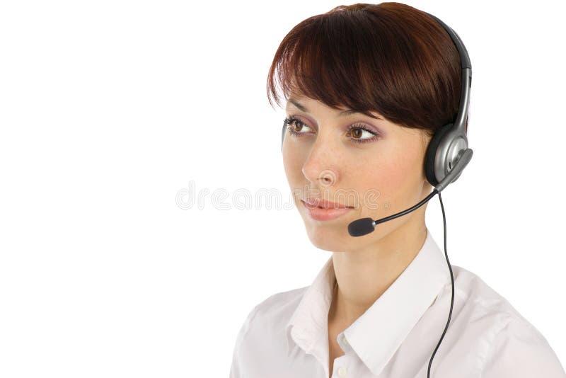 Jeune opérateur féminin de service à la clientèle photo libre de droits