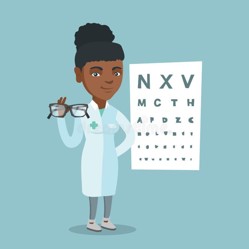 Jeune ophtalmologue africain tenant des lunettes illustration libre de droits