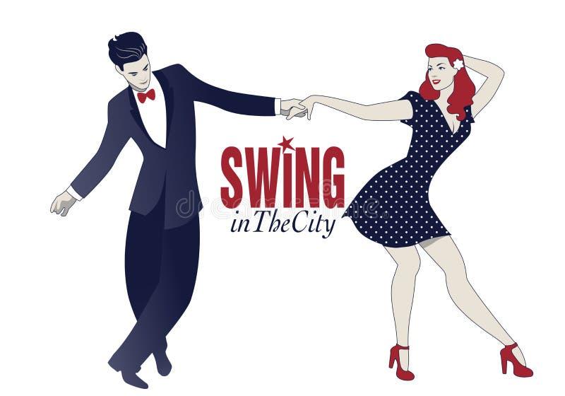 Jeune oscillation de danse de couples, houblon lindy ou rock illustration de vecteur