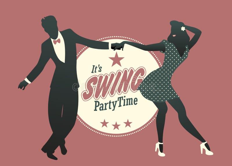 Jeune oscillation de danse de silhouette de couples, houblon lindy ou roche et rol illustration stock