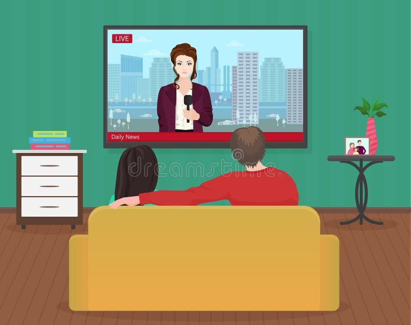 Jeune père de famille et femmes observant les informations quotidiennes de TV ensemble dans le salon Actualités chaudes avec le j illustration libre de droits