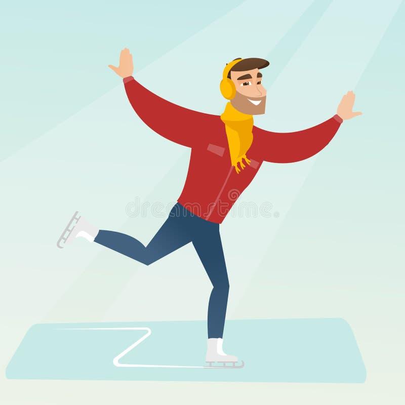 Jeune patinage de glace caucasien d'homme illustration de vecteur