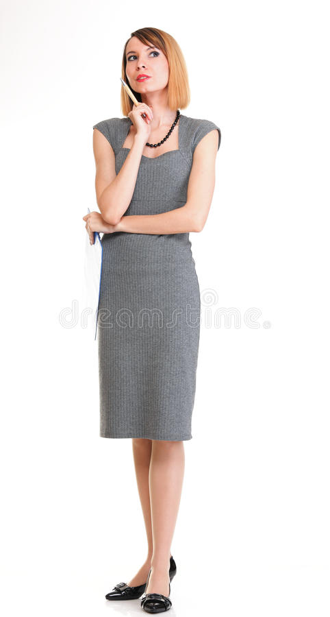 Jeune penser intégral de femme d'affaires d'isolement images stock