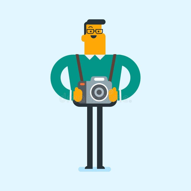Jeune photographe caucasien avec des appareils-photo de photo illustration libre de droits