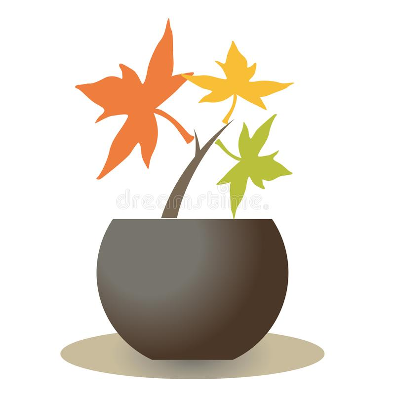 Jeune plante d'?rable - style de logo de bonsa illustration libre de droits