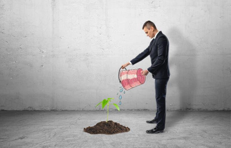 Jeune plante s'élevant du ciment et de l'homme d'affaires utilisant le seau pour l'arroser photo libre de droits