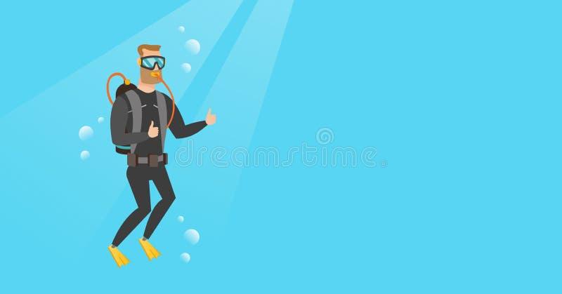Jeune plongeur autonome caucasien renonçant au pouce illustration stock
