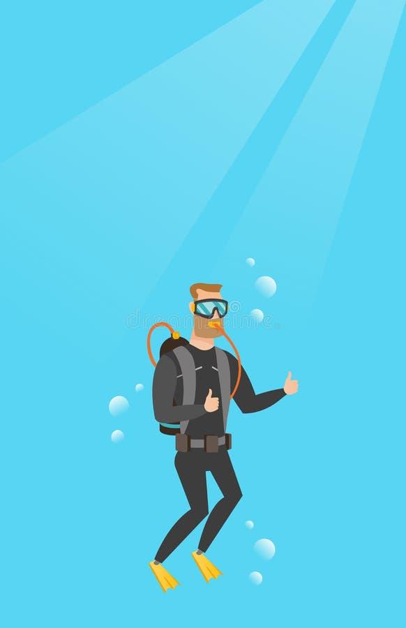 Jeune plongeur autonome caucasien renonçant au pouce illustration libre de droits
