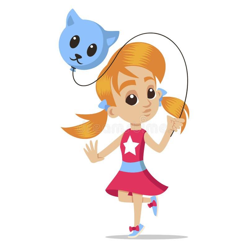 Jeune portrait de caractère bande dessinée heureuse de fille Petite fille avec un ballon Caractère principal mignon de petite fil illustration de vecteur