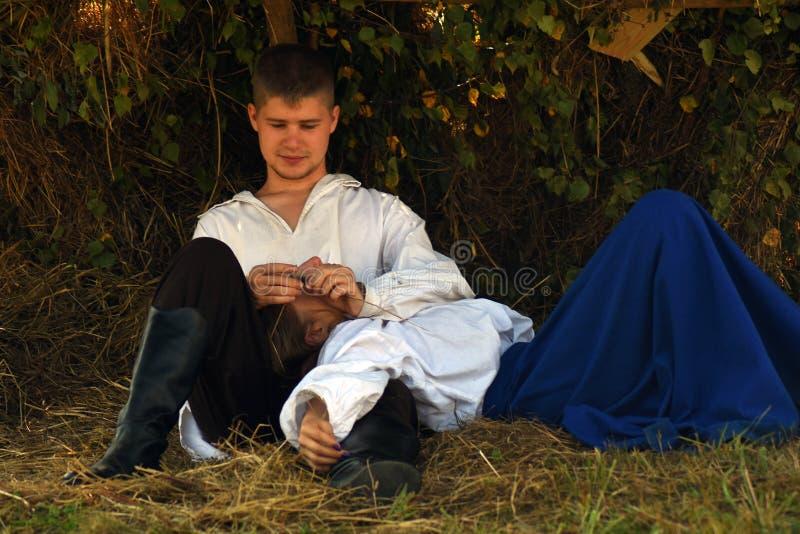 Jeune portrait de reenactors à la reconstitution historique de bataille de Borodino en Russie photo libre de droits