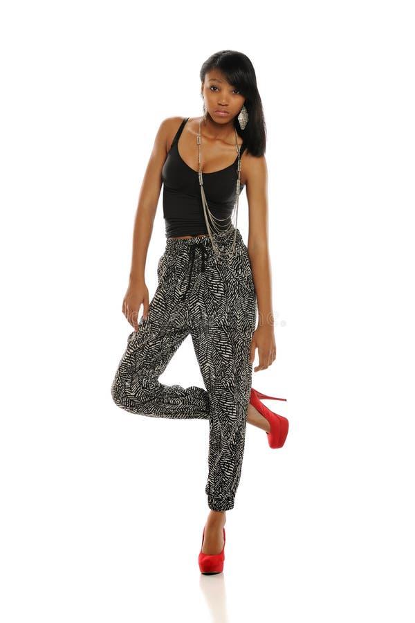 Jeune pose de femme d'Afro-américain images libres de droits