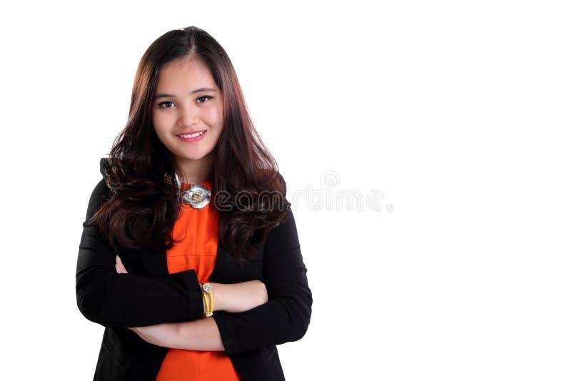 Jeune pose réussie de femme d'affaires image libre de droits